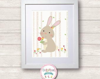Woodland Rabbit ,girls, Art Nursery Print,  Wall Decor,  Wall Art. Can be personalized with name.