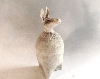 Rabbit,hare,bunny,figurine,sculpture,folkart,animal,clay,ceramc,collectible,signed