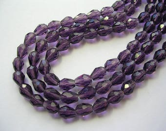 Small Faceted Purple Teardrops Sparkly Glass Purple Teardrops 8x6mm 70 Beads 1mm HoleSparkling Purple Crystal Drops Dangles 20 inch strand
