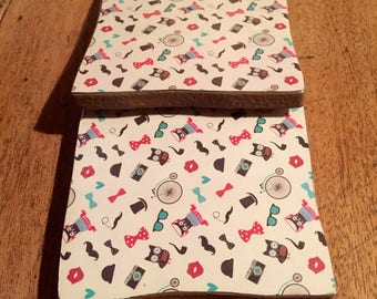 Recycled Handmade Ceramic Tile Coasters Set of Two Hipster Owl/Spectacles/Camera/Moustache/Bow Tie Design