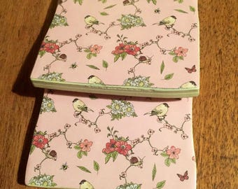 Recycled Handmade Ceramic Tile Coasters Set of Two Country Garden/Cream/Pink/Birds/Bees/Snails/Floral Design