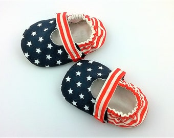 Baby girl Mary Janes-patriottic shoes-baby girl slippers-stripes and stars slippers-vegan baby shoes-vegan baby slippers-soft sole shoes
