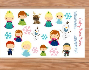 Ice Sisters Character Sheet - Planners - Diary - Stickers - Happy Planner - Erin Condren - Filofax etc