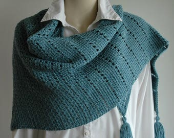 Bamboo and wool shawl / triangle shawl with tassels / aquamarine / Tunisian crochet