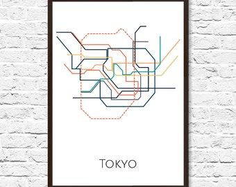 Tokyo Metro, Tokyo Subway Map, Tokyo, Subway Art, Transit Map, Tokyo Print, Tokyo Poster, Tokyo Art