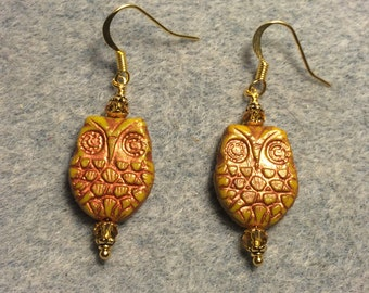 Mustard yellow with copper wash Czech glass owl bead earrings adorned with topaz Chinese crystal beads.