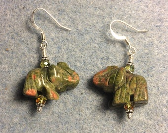 Green and orange unakite gemstone elephant bead earrings adorned with sparkly green Chinese crystal beads.