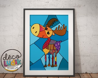 Moose print, art prints, illustration 3d, patchwork moose, 8,5''X11'', wall art, moose lover