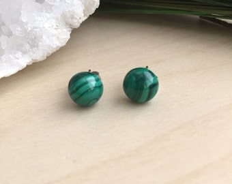 Malachite Earrings on Surgical Steel Posts Hypoallergenic Gemstone Studs Sensitive Skin Safe Minimal Modern gifts one of a kind