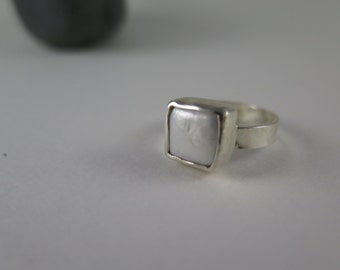 Square Fresh Water Pearl Ring