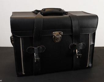 Vintage Black Leather Hard Side Camera Bag
