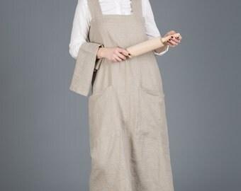 SALE Japanese style apron / Washed grey, Linen pinafore apron / Square cross linen apron/grey long linen apron/apron
