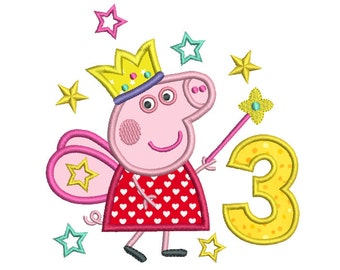 Fairy Pig 3rd Birthday Applique Machine Embroidery Design, Peppa Pig Third Birthday, Number 3 Applique, Instant Download, No: SA510-16
