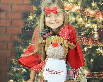 Personalized Stuffed Animal, Reindeer, Personalized Deer, Birth Stats Keepsake, Personalized Gift, Birth Announcement Stuffed Animal,Cubbies