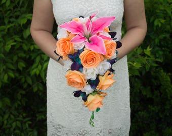Tropical bridal bouquet ~ Orange pink blue bouquet ~ Galaxy orchid bouquet ~ Destination wedding bouquet ~ Cascade bouquet ~ Lily bouquet