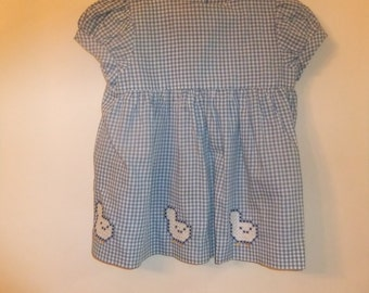 Blue and white check with cross stitched ducks handmade dress