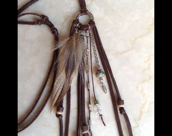 beaded feather necklace brown leather fringe boho necklace