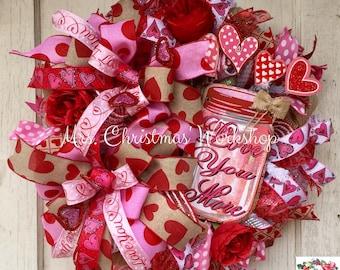 Valentine's Wreath, Deco mesh wreath, mason jar wreath, shabby chic wreath, Valentine's Day wreath, burlap wreath, heart wreath