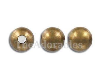 200pcs--Beads, Round, Antique Bronze, hole: 1mm (B71-7)