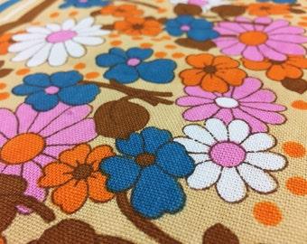 Vintage 70s fabric 50 x 120: fabric flower power safe deposit box 12