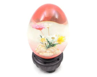 Clear Glass Egg, Flowers and Shells, Colorful Glass Egg, Nanco by Nancy Sales Inc.