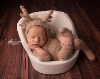 Reindeer Hat, Baby Hat, Newborn Hat, Reindeer Bonnet, Felted Reindeer Hat, Rudolph Hat, Newborn Hat, Photo Prop