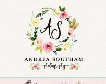 wreath logo monogram logo wedding logo event planner logo beauty logo make up artist logo premade logo photography logo watercolor logo