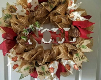 Noel Christmas Wreath Limited quantities available!!! Noel, winter wreath, christmas wreath, holiday wreath