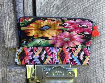 PRIME DAY: Vintage Handmade Huilpil cosmetic bag, reclaimed huipil cosmetic bag, boho cosmetic bag, bohemian, makeup bag, cosmetic bag