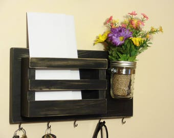 Mail Holder - Key Holder - Wall Mounted Mail Organizer -  5 Hooks - Mason Jar - Distressed Black Finish - Other Available Colors