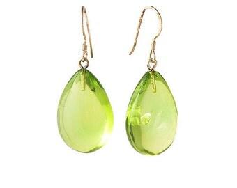 Amber earrings Green Caribbean Amber Drop Earrings Silver Hooks