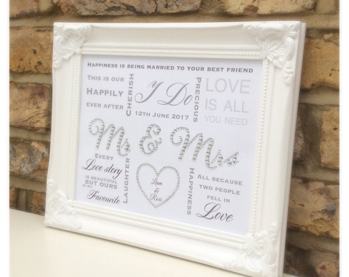 Custom Wedding crystal framed print, Anniversary gift, Sparkle, ShabbyChic, Personalised prints