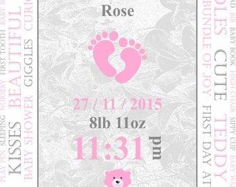 Personalised Baby Print (Pink).