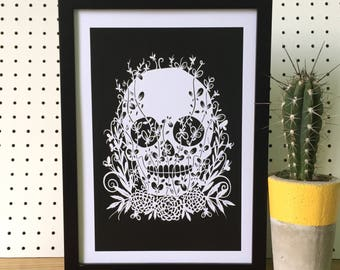 A4 Mexican Sugar Skull Floral  print, Limited Edition,  skull print, Day of the dead, gift for her, gift for him, halloween decor
