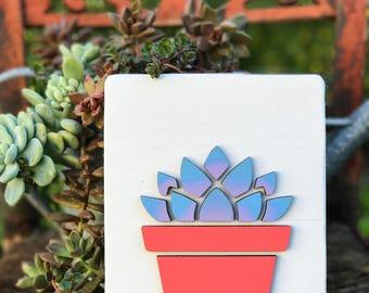 Succulent sign, succulent, house plant, wood sign, home decor, ombre, succulents, laser cut