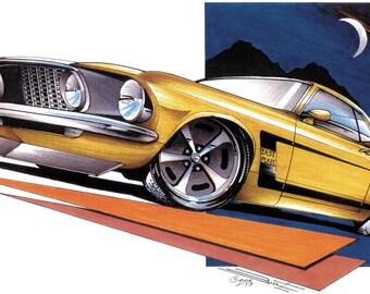 Ford '69 Mustang Custom Classic Car T-shirt 100% Cotton S-XXXL