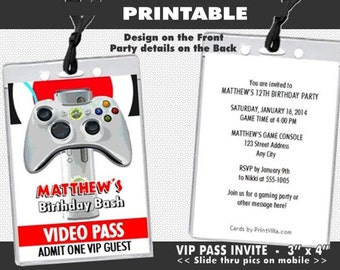 xBox Video VIP Pass Birthday Party Invitation, Printable, Video Game Truck Invites, Boy Birthday