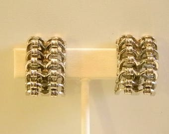 Large Silver Tone Gear Look Square Clip Earrings