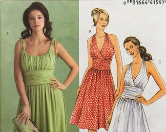 Butterick B5029 Sewing Pattern Size 8 - 14 - Women's Gathered Bodice Dress, Bridesmaid Halter Dress with Flared Skirt, Easy Sewing