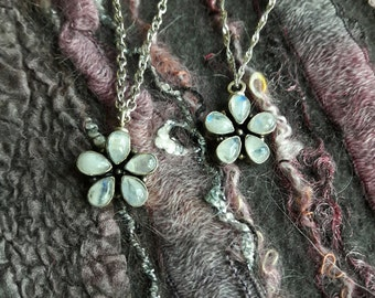 Moonstone Necklace, Moonstone Pendant, Flower Charm, Moonstone Charm