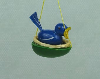 Vintage Easter chick in nest ornament wooden blue green 1960s