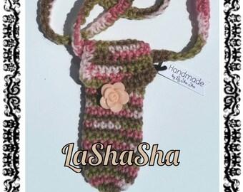 Crochet Neck Pouch / Pink / White / Green / Lanyard / Accessory / Beach / Concerts / Party / Money / USB / Keys / Rock That LaShaSha