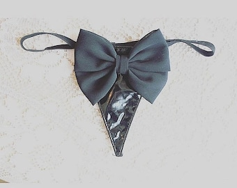 30%offsale bow thong ooak bow fetish bdsm pvc