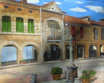 Italian landscape painting oil on canvas measures 60 x 80 cm. No frame.