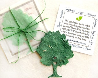 20+ Flower Seed Paper Trees - Unique Fall Wedding Favors - Personalized Love Grows Cards - Red Orange Plantable Paper Fall Colors