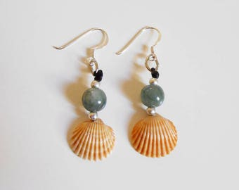 Tiny natural marine shell earrings with sterling silver hook