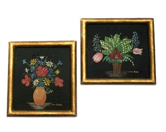 Small vintage 1950s silk paintings, Vase and flowers pattern, Golden tone frame and black background
