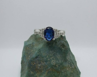 Sapphire Sterling Silver Ring, size 7.25