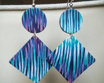Blue,purple and white fimo earrings - chandelier earrings