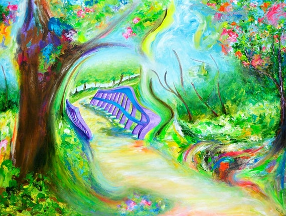 Visionary Art. Impressionist Landscape Art Print about Dreams entitled Return. Trail and Purple Bridge. Surrealism, Impressionism.